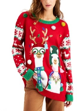 Hooked Up by IOT Juniors' Llamas Holiday Sweater