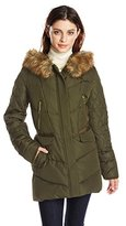 Kensie Women's Diamond-Quilted Down Coat with Faux Fur Hood
