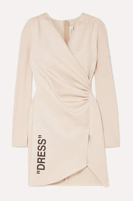 Off-White Off White Ruched Printed Stretch-crepe And Jersey Mini Dress - Beige