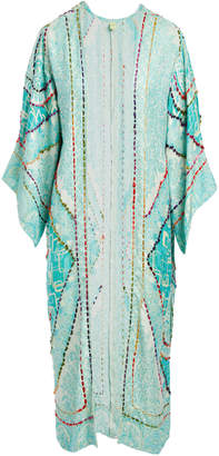 Raj Imports Women's Dusters MINT - Mint Floral Belle Embroidered Duster - Women