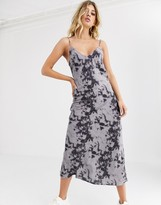 Motel satin midi cami dress in tie dye