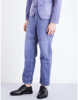 Burberry Herringbone Relaxed-fit Cotton And Linen-blend Trousers