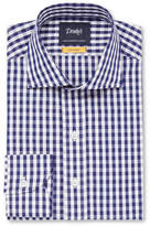 Drakes Drake's - Navy Easyday Cutaway-Collar Gingham Cotton-Poplin Shirt