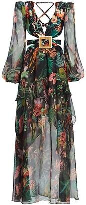PatBO Oasis Long-Sleeve Cutout Dress