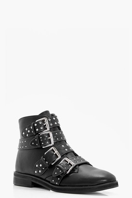 boohoo Studded Strap Ankle Boots