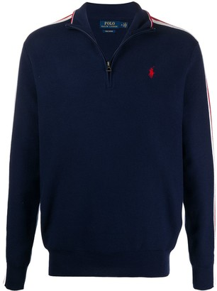 Polo Ralph Lauren Striped Sleeve Zip Detail Cotton Jumper