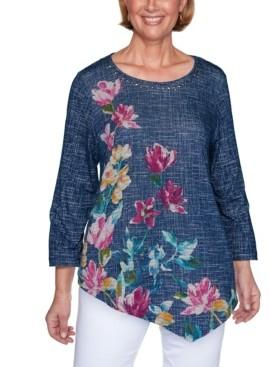 Alfred Dunner Women's Textured Asymmetric Flowers Top