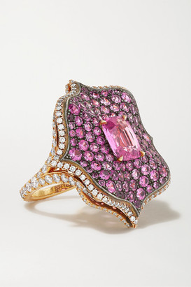 Bayco 18-karat Rose Gold, Sterling Silver, Sapphire And Diamond Ring - Pink