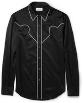 Saint Laurent - Slim-fit Contrast-trimmed Satin Western Shirt