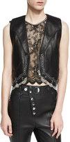 Alexander Wang Chain-Trim Leather Western Vest, Black