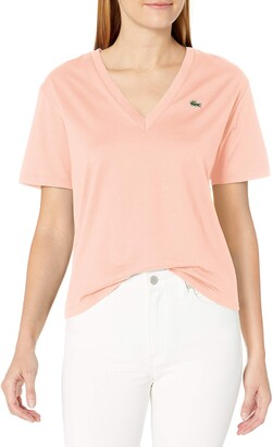 Lacoste Women's Short Sleeve Boxy Fit V-Neck T-Shirt