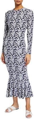 Norma Kamali Zebra Print Long-Sleeve Fishtail Dress
