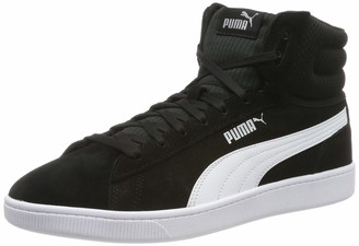Puma Women's Vikky v2 Mid Hi-Top Trainers Black Black White Silver Pink Alert 4 UK 37 EU