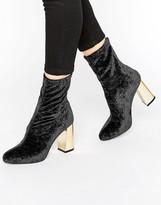 Missguided Velvet Blocked Heeled Sock Boots