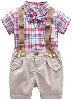 Bebone Baby Boys Outfits Clothes Wedding Gentleman Romper Jumpsuit Bodysuit Set (Purple Plaid 100-110CM)