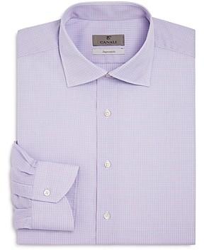 Canali Dobby Micro Check Regular Fit Dress Shirt