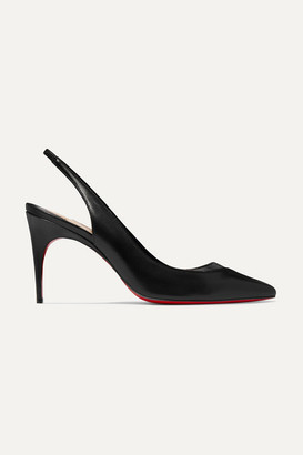 Christian Louboutin V Sling 85 Pvc-trimmed Leather Slingback Pumps - Black