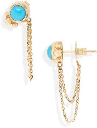 Anzie Bonheur Semiprecious Stone Chain Stud Earrings