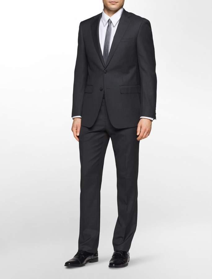 Calvin Klein x-fit ultra slim fit charcoal sharkskin suit