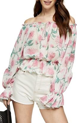 Topshop Floral Print Off the Shoulder Blouse