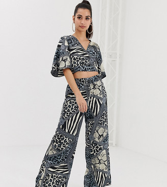 Outrageous Fortune Petite wide leg pants two-piece in multi chain print