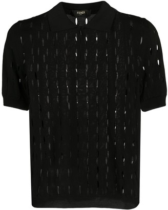 Fendi open knit polo shirt