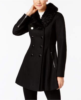 GUESS Faux-Fur-Collar Double Breasted Skirted Coat