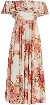 Giambattista Valli Floral Off-The-Shoulder Midi Dress