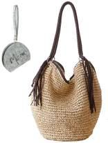 Micom Octopus Style Paper Yarn Braid Beach Tote Hobo Shoulder Handbags with Tassels for Women,girls