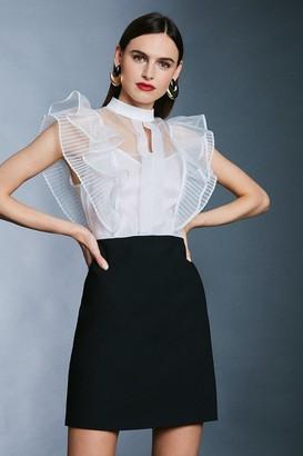 Karen Millen Organza Ruffle Bodice Tailored A Line Dress