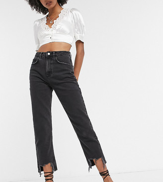 Reclaimed Vintage The '91 mom jeans with destroyed hems in washed black