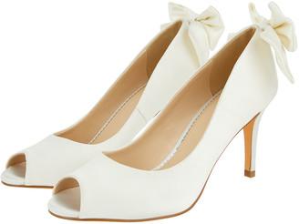 Monsoon Bessie Bridal Satin Peeptoe Heels with Bow Ivory