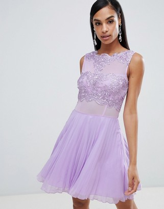 AX Paris tulle skater dress with embellished detail-Purple