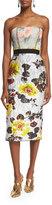Oscar de la Renta Strapless Mixed-Floral Cocktail Dress, Dove/Lemon