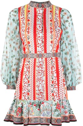 Alice + Olivia Patchwork Print Mini Dress