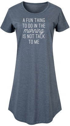 Nap Chat Women's Tee Shirt Dresses HEATHER - Heather Blue 'Fun Thing To Do In The Morning' Short-Sleeve Dress - Women & Plus