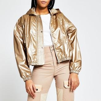 River Island Bronze metallic nylon bomber jacket