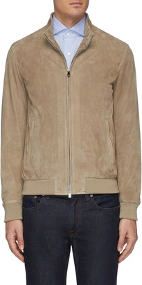 Isaia Two way zip perforated leather jacket