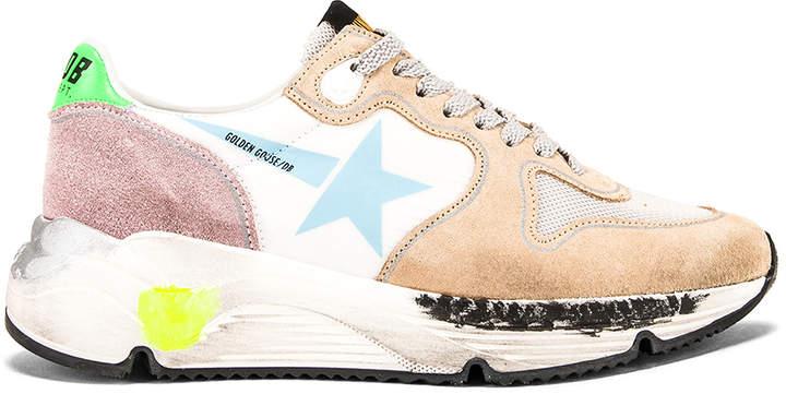 Golden Goose Running Sole Sneaker in White & Light Blue Star | FWRD