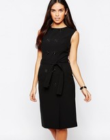 Warehouse Button Down Tie Waist Shift Dress