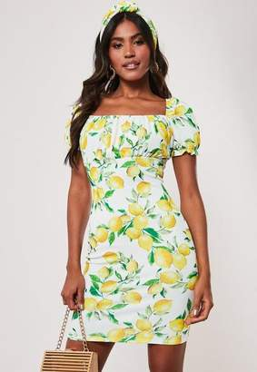 Missguided Lemon Print Milkmaid Bodycon Mini Dress