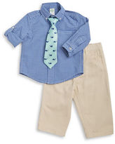 Little Me Baby Boys Little Boys Gingham Dress Shirt, Whale Tie and Pants Set