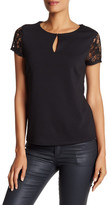 Bobeau Lace Sleeve Keyhole Ponte Shirt