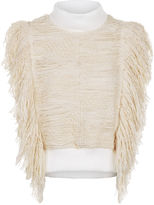 Sea Ivory Fringed Sleeveless Knitted Top