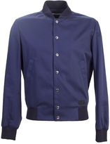 Kenzo Blue Cotton Bomber Jacket With Embroidery
