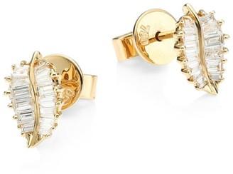 Anita Ko 18K Gold & Baguette Diamond Small Palm Leaf Stud Earrings