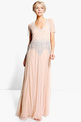 boohoo Boutique Beaded Cap Sleeve Maxi Bridesmaid Dress