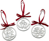 Mikasa Set of 3 Silver Plated Round Christmas Ornaments
