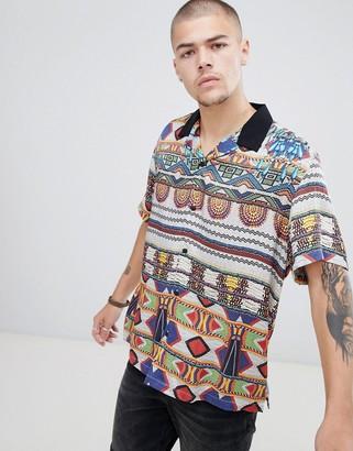 Asos Design DESIGN relaxed aztec print shirt with revere collar-Multi