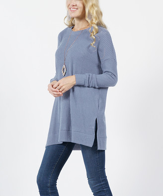 Lydiane Women's Pullover Sweaters CEMENT - Cement Crewneck Long-Sleeve Side-Slit Waffle Tunic - Women & Plus